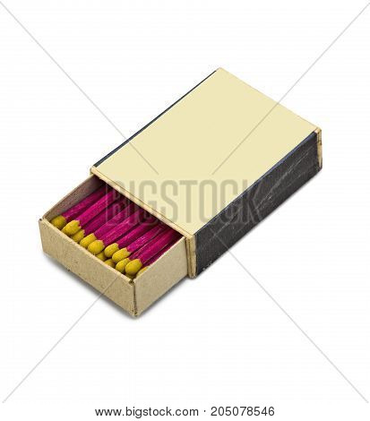 Sudio shot of a old and vintage matches box isolated on white with clipping path