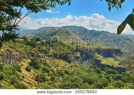 Summer armenian landscape in the place Garni