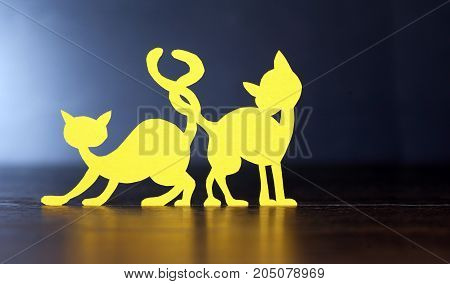 Two cats with attached tails made from yellow paper on dark background