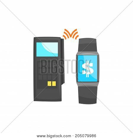 POS terminal confirming the payment using smart watch, online banking, NFC payment method  cartoon vector illustration isolated on a white background