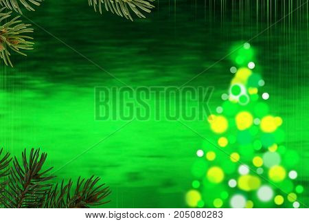Green Christmas Background With Christmas Tree and Needles.