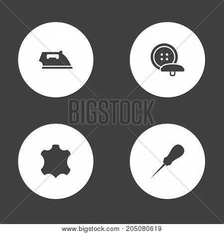 Collection Of Tailor, Skin, Flatiron And Other Elements.  Set Of 4 Tailor Icons Set.