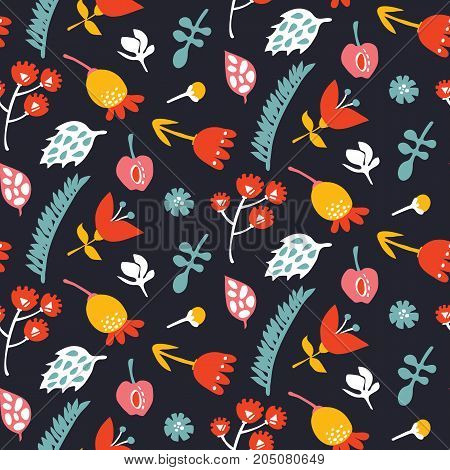Seamless vector doodle hand drawn pattern with ornate flowers and leaves for wallpapers, scrapbooking, web page backgrounds,textile