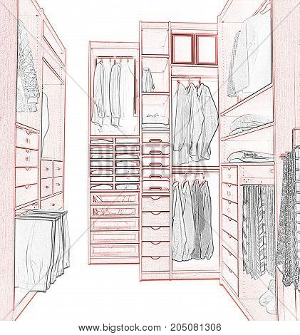 Sketch Of A Modern Dressing Room