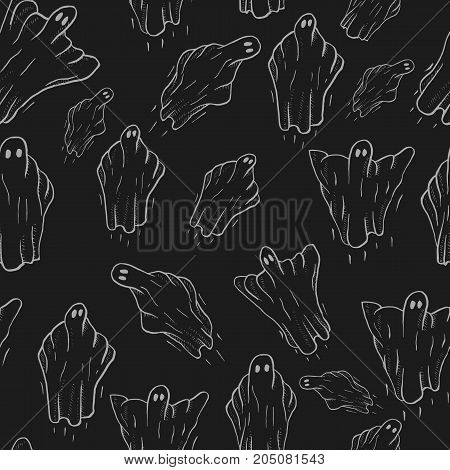 ghosts for Halloween on black background. cute ghosts characters. vector illustration seamless pattern eps 10