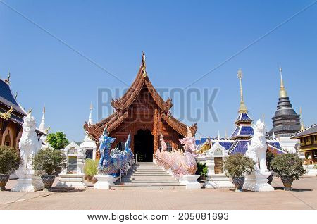 Beautiful temple in Chiangmai,Thailand.Public place for worship
