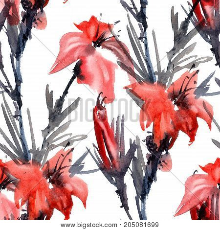 Watercolor and ink illustration of lily flower. Sumi-e u-sin painting. Seamless pattern.