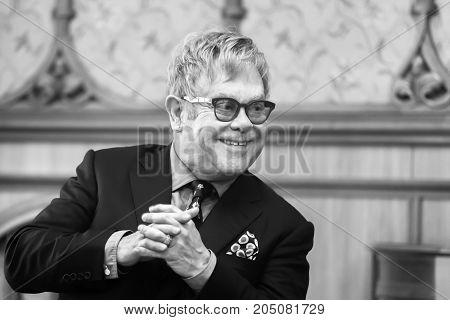 Black And White Portrait Of Elton John