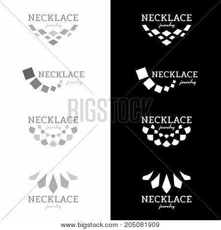 Necklace logo with square diamond shape black and gray tone vector design
