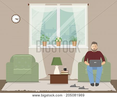 Living room in a beige color. In the armchair is a young man with a laptop. There is a two green armchairs, a window, a table, a lamp, slippers and other objects in the picture. Vector illustration