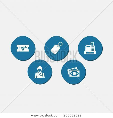 Collection Of Dollar, Till, Ticket And Other Elements.  Set Of 5 Store Icons Set.