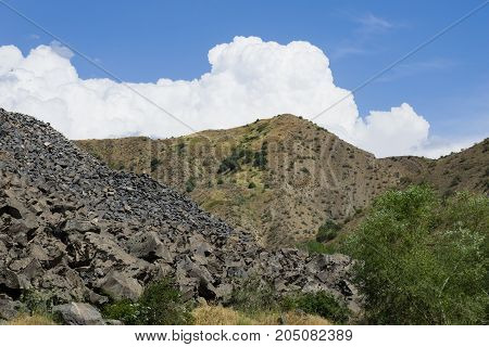View of mountains landscape in Garni Armenia selective focus.