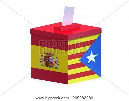 Spanish election ballot box Catalonia 3d illustration