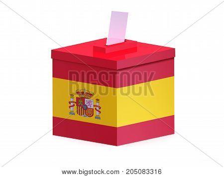 Spanish election ballot box , 3d illustration