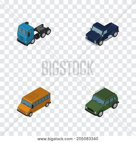 Isometric Transport Set Of Armored, Truck, Autobus And Other Vector Objects