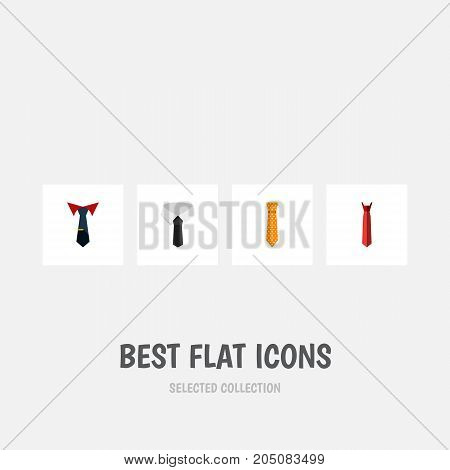 Flat Icon Necktie Set Of Textile, Clothing, Style And Other Vector Objects
