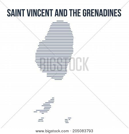 Vector Abstract Hatched Map Of Saint Vincent And The Grenadines With Horizontal Lines Isolated On A