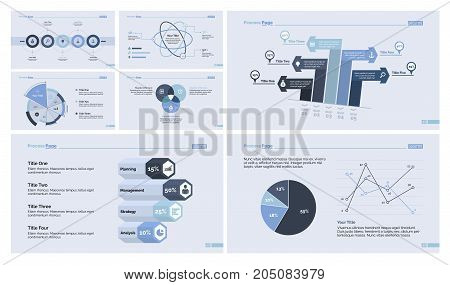 Infographic design set can be used for workflow layout, diagram, annual report, presentation, web design. Business and statistics concept with process, pie, line, bar, Venn and percentage charts.