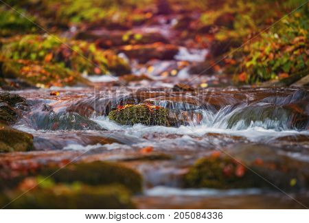 Blue water of mountain stream in autumn time. Nature background. Water is washed with pebbles covered with moss