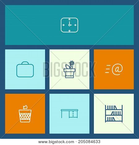 Collection Of Bookshelf, Briefcase, Wastebasket And Other Elements.  Set Of 7 Workspace Outline Icons Set.