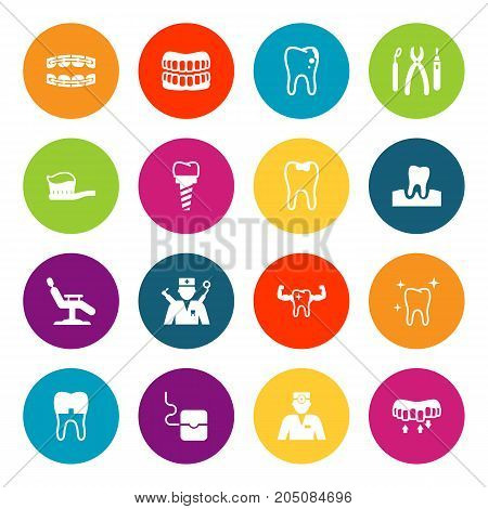 Collection Of Gingivitis, Halitosis, Decay And Other Elements.  Set Of 16 Dental Icons Set.