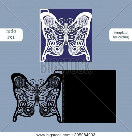 Laser cut wedding square card template. Cut out the paper card with butterfly pattern. Greeting card template for cutting plotter. Metal plate cut by laser. Vector.