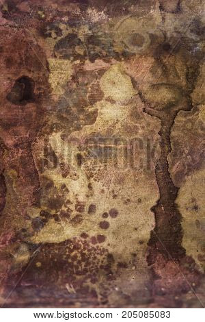 Strong corrosion of metal surface. Copper rusty texture.