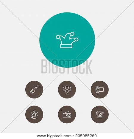 Collection Of Balloon, Amplifier, Video And Other Elements.  Set Of 7 Cheerful Outline Icons Set.