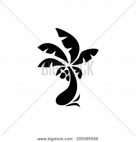 Palm tree icon. Simple flat illustration. Vector icon. Black and white coconut palm