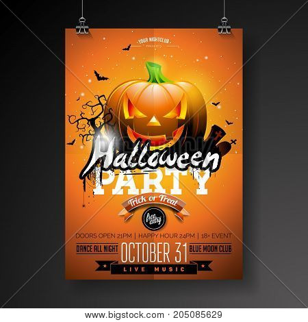 Halloween Party flyer vector illustration with pumpkin and cemetery on orange sky background. Holiday design with spiders and bats for party invitation, greeting card, banner, poster