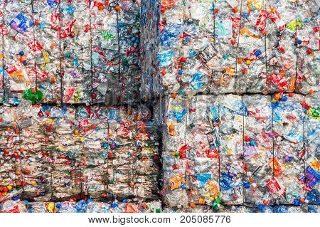 ARNHEM NETHERLANDS - MAR 15 2011: Recycled plastic bottles in bales at an undisclosed recycling facility.