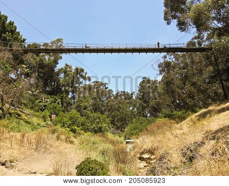 SAN DIEGO, CALIFORNIA, JUNE 8. Spruce Street Suspension Bridge on June 8, 2017, in San Diego, California. A Local Landmark Spruce Street Suspension Bridge is a Pedestrian Bridge in San Diego in California.