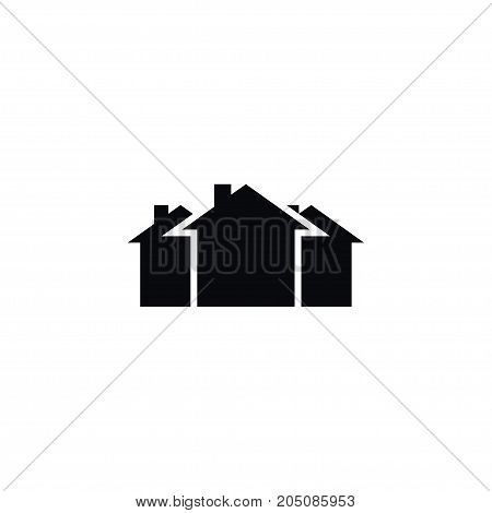 Domicile Vector Element Can Be Used For Domicile, Mortgage, Property Design Concept.  Isolated Property Icon.