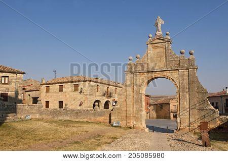 Arch Ofsanta Maria La Real Church And Square, Sasamon, Burgos Province, Spain
