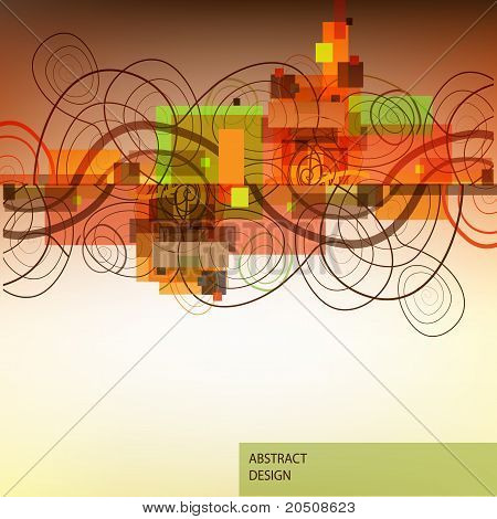 Abstract background with swirls and colorful rectangles. poster