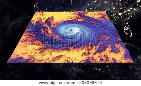 Hurricane Maria over USA. Thermal image. Elements of this image furnished by NASA