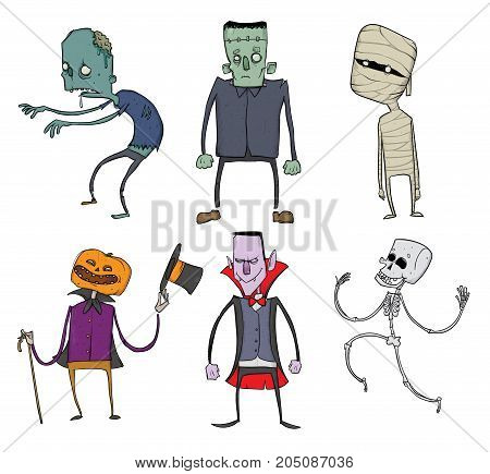 Vector Set of Halloween characters. Zombie, skeleton, mummy, Jack-o'-lantern, Dracula and other scary monsters. Illustration, isolated on white background.
