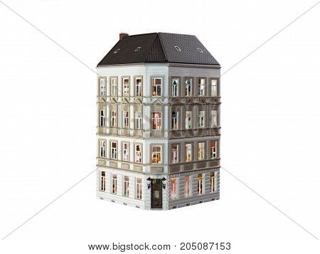 A house with many apartments. White background
