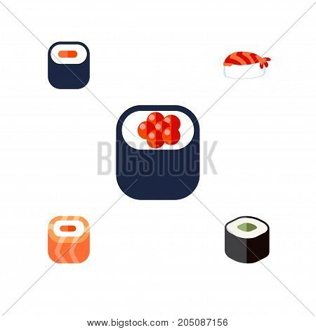 Flat Icon Salmon Set Of Oriental, Maki, Salmon Rolls And Other Vector Objects