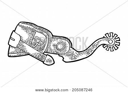 Spur from leather and metal. Vintage black engraving illustration for poster web. Isolated on white background.