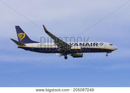 PISA ITALY - JANUARY 15 2017 - A Ryanair Boeing 737-600 lands at Pisa Airport (Galileo Galilei)