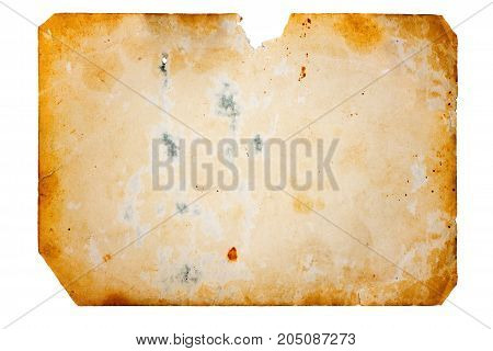 Close up image of the isolated old grungy paper sheet.