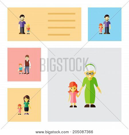 Flat Icon Family Set Of Daugther, Father, Grandchild Vector Objects
