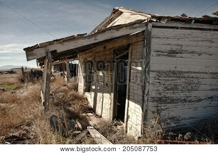 Run down house in the ghost town of Cisco, Utah. Retro look.