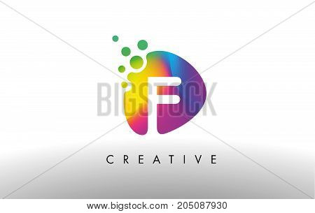 F Colorful Logo Design Shape. Purple Abstract Shape Letter Icon.