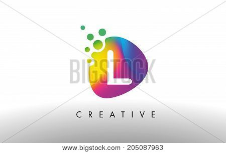 L Colorful Logo Design Shape. Purple Abstract Shape Letter Icon.
