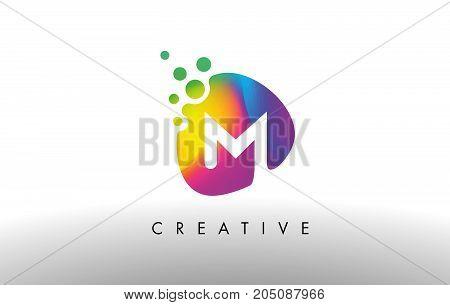 M Colorful Logo Design Shape. Purple Abstract Shape Letter Icon.