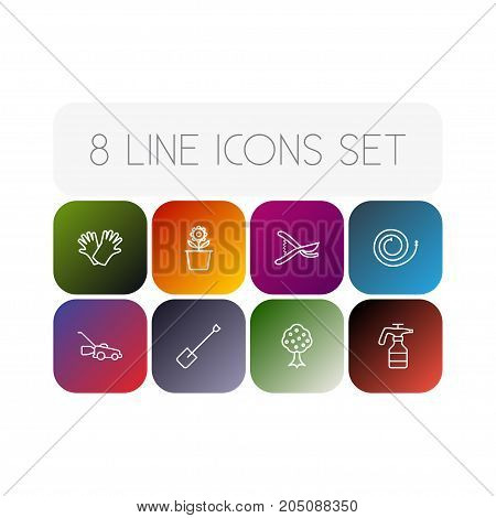 Collection Of Safer Of Hand , Plant Pot, Firehose Elements.  Set Of 8 Household Outline Icons Set.