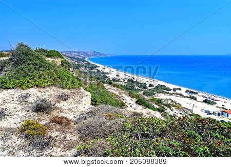Landscape with a beach on the Mediterranean island of Kos in Greece