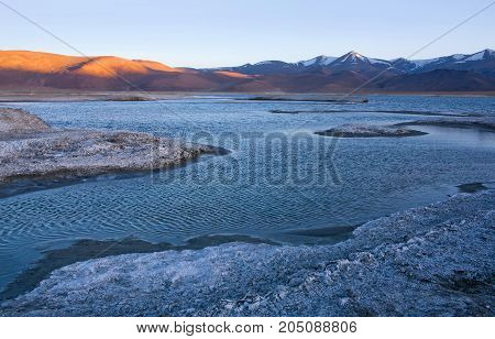 Tso Kar salt water lake in Ladakh, North India. Tso Kar located in Rupsa valley nearly 240 km southeast of Leh at a height of around 4500 m and 28 km long.